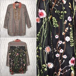 Soft Surroundings Embroidered Button Down Tunic